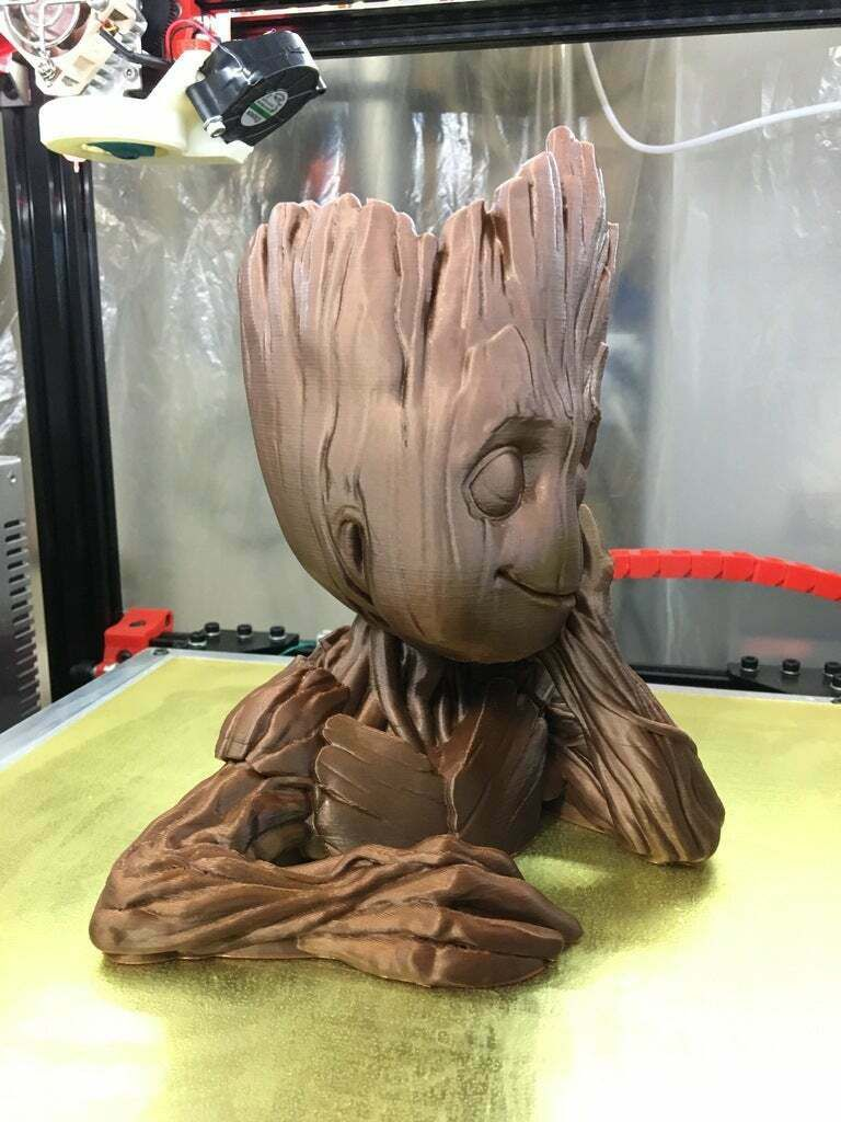 IMG_1207.JPG Download free 3MF file Groot Planter (Less supports, cleaner print, drain hole) • 3D printing design, Phaedrux