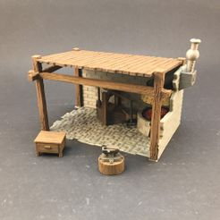 bs-painted2.jpg Download free STL file Blacksmith Shop for 28mm miniatures gaming • 3D printable model, Brease