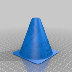 caution_cone_with_warning_sign_kicking_version.png Download free STL file Traffic Cone - Warning Sign (Kicking Version) • 3D printer template, the_qsr