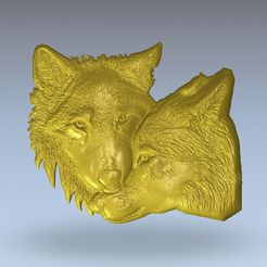 514.jpg Download free STL file two wolves wolf • 3D printing model, 3Dprintablefile