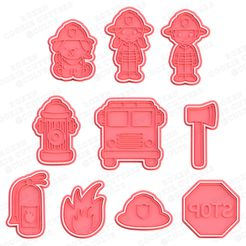 1-main.jpg Download STL file Firefighters cookie cutter set of 10 • Design to 3D print, roxengames
