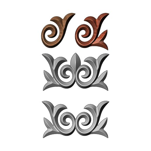 onlay14-00.JPG Download 3MF file Floral onlay relief for woodworking and plaster moldings 3D print model • 3D printable design, RachidSW