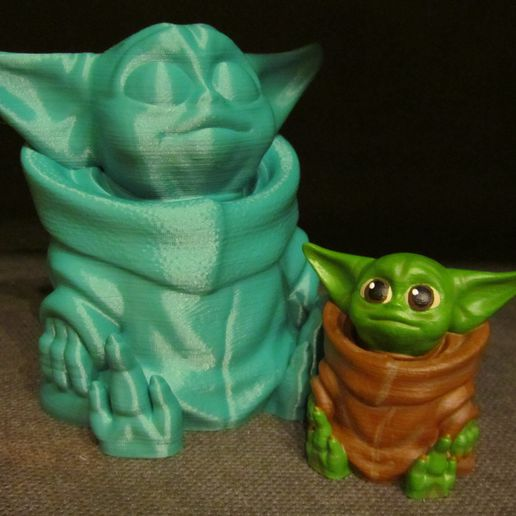 Baby Yoda Painted.JPG Download free STL file Baby Yoda (Easy print no support) • 3D printing object, Alsamen