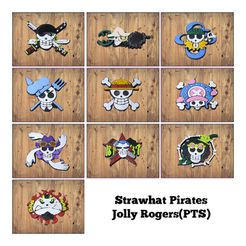 Collage.jpg Download STL file One Piece Strawhat Pirates Jolly Rogers(PTS) • 3D printer design, print3d08