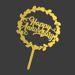 Happy-Anniversary-Wreat-v1.png Download STL file Happy Anniversary Wreath Cake Topper • 3D printing object, dkn2610