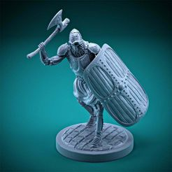 Skeleton_HeavyInfantry_Attack_AxeSS_var2.jpg Download free STL file Skeleton - Heavy Infantry - Axe + Square Shield - Attack Pose • 3D printable object, DungeonWardenMiniatures