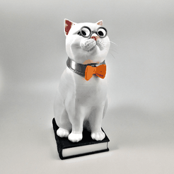 "murphy_white_1_small.png Télécharger fichier STL Murphy the Library Cat: Multi Material ""Top Up"" (Multi Material files only!!) • Design pour imprimante 3D, loubie"