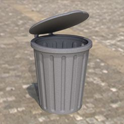 Render2.JPG Download STL file trash can/bin with lid • 3D print design, anlosay