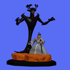 1e.jpg Download STL file Samurai Jack and Aku Diorama • Model to 3D print, RandomDesign