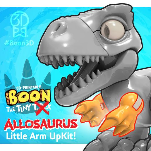 Boon_Allosaurus_7_SQUARE.jpg Download free STL file Boon the Tiny T. Rex: Allosaurus UpKit (Arms ONLY) - 3DKitbash.com • Model to 3D print, Quincy_of_3DKitbash