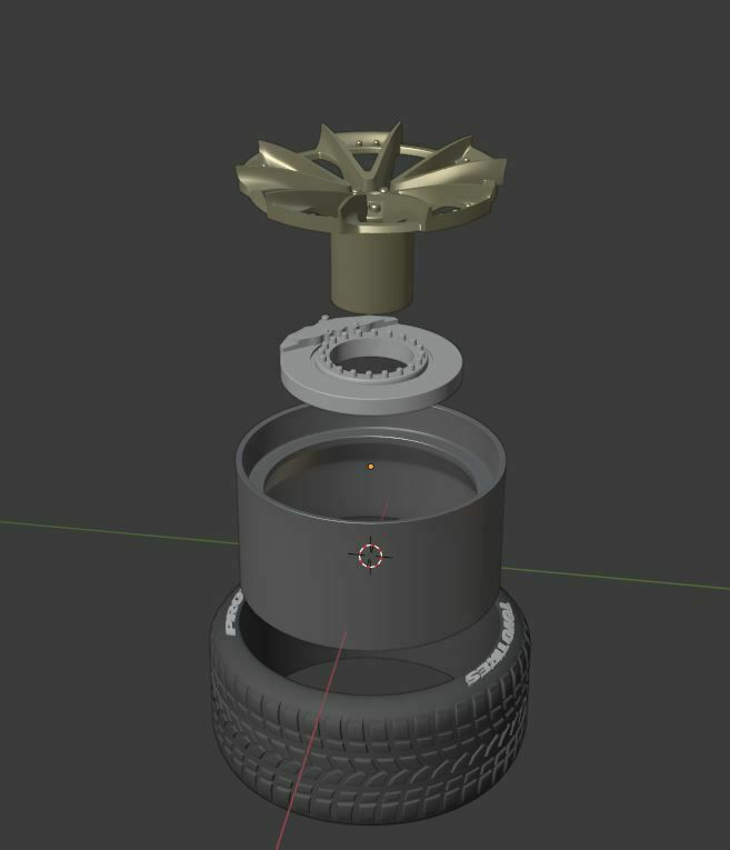 e0.JPG Download STL file S204 Style Wheel, brake and Tire for diecast and RC model 1/43 1/24 1/18 1/10.... • 3D printable model, BlackBox