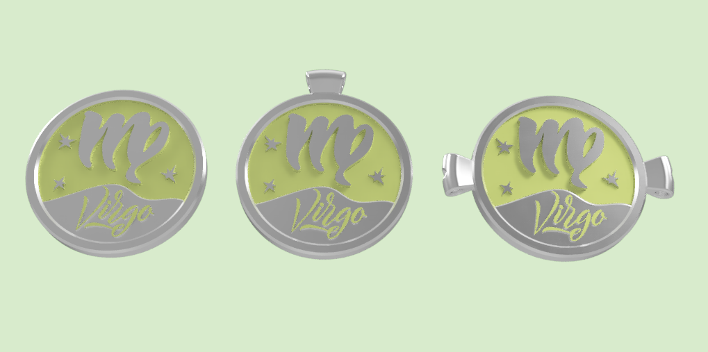virgo 3.png Download STL file 3 IN 1. COIN, BANGLE AND KYLON WITH THE VIRGO. • 3D printing object, Skap14