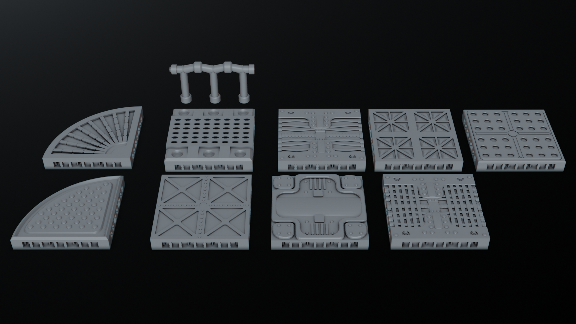 floors.png Download STL file Sci Fi Terrain Pack • Template to 3D print, CarlCreates