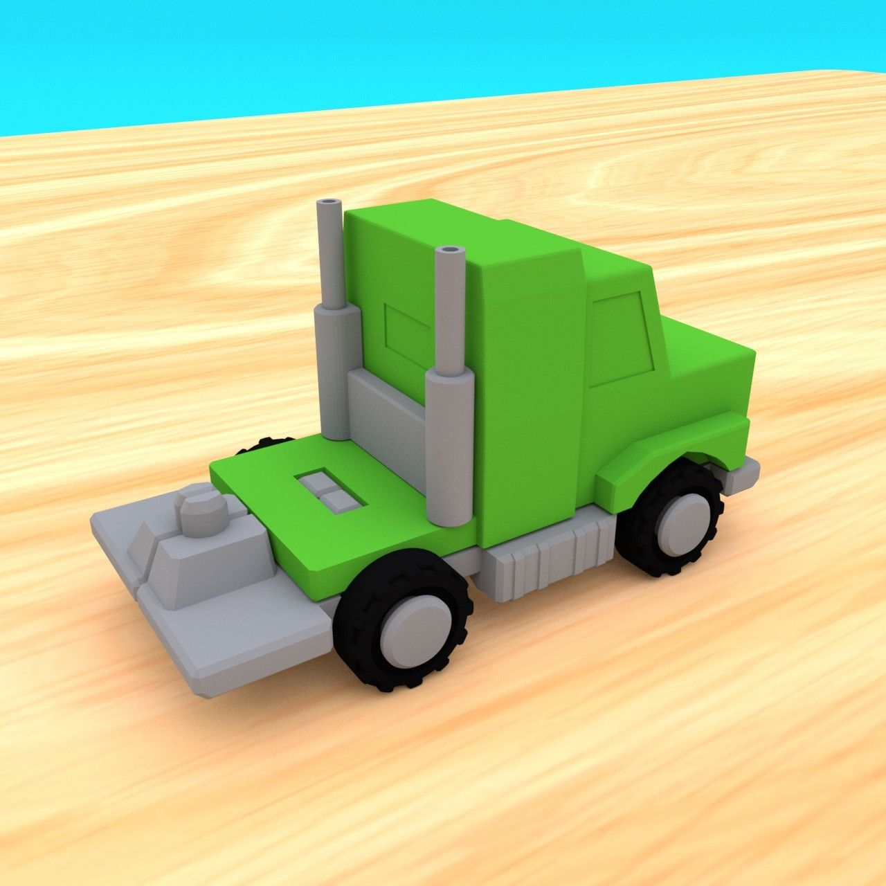 SmallToys-AmericanTruck02.jpg Download STL file SmallToys - American Truck and Freight Trailer • 3D printing object, Wabby