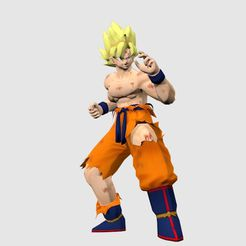Goku_BD_SS_display_large.jpg Download free STL file Super Saiyan Goku • 3D print template, Absolute3D