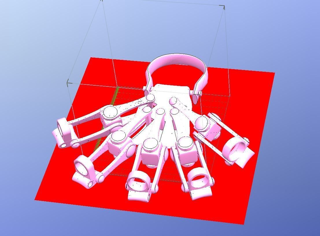 Exo-Hand_Left_One_Piece_ISO_View.JPG Download file 3D Printed Exoskeleton Hands - In One Piece • 3D print design, 3DPrintIt