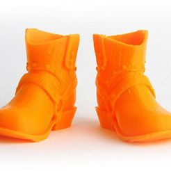 MAKIES_CowboyBoots_Orange_display_large.jpg Download free STL file Makies Cowboy Boots • 3D printing template, Makies