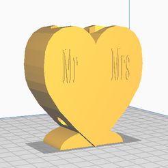 Screen shot Mr Mrs Front and Rear.png Télécharger fichier STL PORTE-DENTS COUPLE-CŒUR - M. Mme • Modèle imprimable en 3D, AdamestAdam