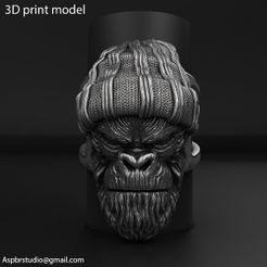 Gangster_monkey_vol1_ring_K1.jpg Télécharger fichier STL Gangster Monkey vol1 Bijoux de bague • Objet imprimable en 3D, AS_3d_art