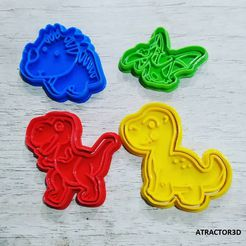 DINOcults.jpg Download STL file COOKIE CUTTER WITH DINOSAUR STAMP KIDS DINOSAURS • 3D printable object, atractor3d