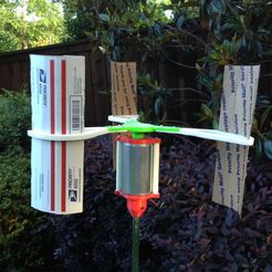 "v5turbinebuilt_display_large.jpg Download free STL file Modified Vertical Axis Wind Turbine (1/4"" Motor Shaft) • 3D printer model, Durbanarb"