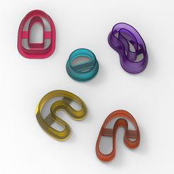 untitled.183.jpg Download STL file 5 PIECES OF CUTTER FOR POLYMER CLAY EARRINGS AND COOKIES • 3D printer model, deiji