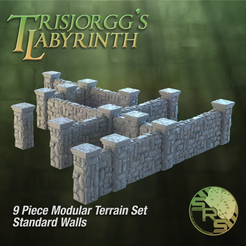 Stone Walls Normal Group Solo_00105.png Download STL file Stone Walls Modular Terrain Set • 3D printable template, SyncRatioSystems