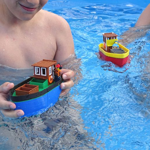 Preview2.jpg Download free STL file Small fishing boat - floating toy for kids • 3D printable model, Printed-Toys