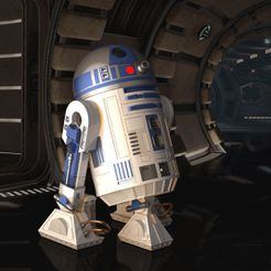 Render 1.JPG Download STL file STAR WARS - R2D2 highly detailed &ready to print, 360° rotating head & openable to use it as a storage box. • 3D printing model, mochiczuki