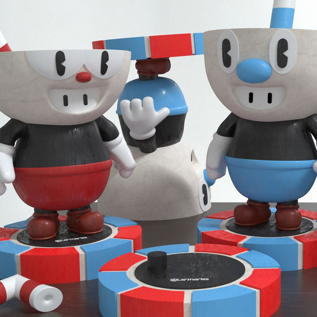 04.jpg Download STL file FALL GUYS WITH SKIN / MUGMAN & CUPHEAD ALL IN ONE • 3D printable object, Larmaries