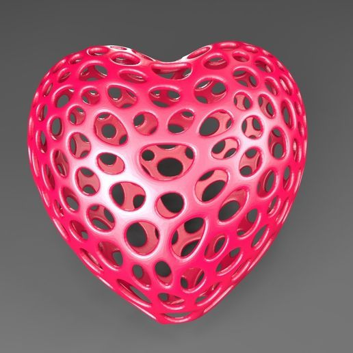 Heart_with_slot_display_large.jpg Download free STL file Heart with slot on one side - Voronoi Style • 3D printer object, Numbmond