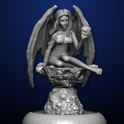 succubus on base.jpg Download STL file Succubus on Throne • Template to 3D print, MadcapMiniatures