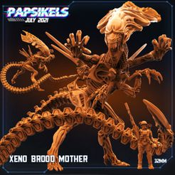 XENO_BROOD_MOTHER1.jpg Download STL file XENO BROOD MOTHER • Model to 3D print, Papsikels