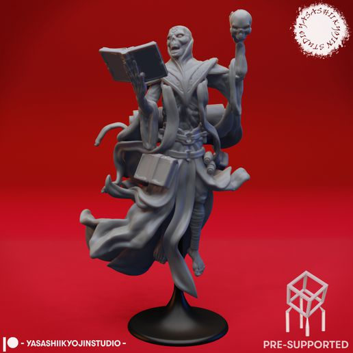 Lich_PS.jpg Download STL file Lich - Tabletop Miniature (Pre-Supported) • 3D printable template, YasashiiKyojinStudio