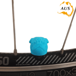 bike-dog-blue.png Télécharger fichier STL Pug Dog Car Truck Truck Bike Van Tire Van Tire Wheel Wheel Valve Stem Caps Caps Covers • Objet pour impression 3D, Custom3DPrinting