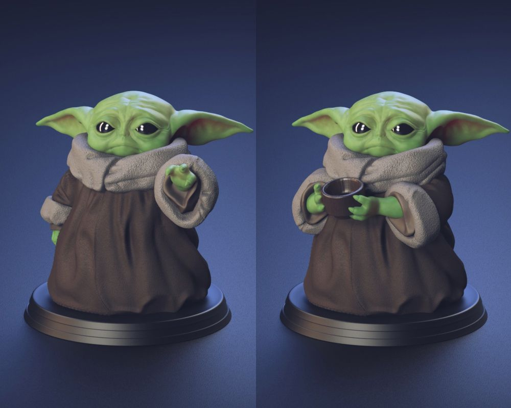 babyyoda01.jpg Download STL file Baby Yoda - Using The Force and Drinking water - Fan Art • 3D printer template, STLProject