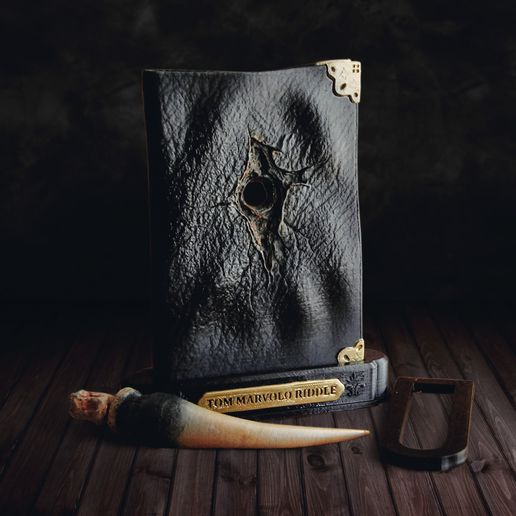 4.JPG Download STL file Tom Riddle Diary and The Basilisk Fang - Harry Potter • 3D printer object, tolgaaxu