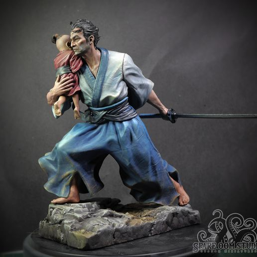 Lone wolf.jpg Download STL file Lone Wolf and Cub Pre-Supported • 3D printing object, Spare_Oom_Studio