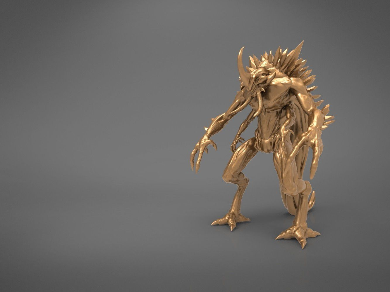 """demon-main_render.596.jpg Download STL file """"The Ancient One"""" Demon - board game figure • Template to 3D print, 3D-mon"""