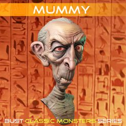 MummyFicha01 copy.jpg Download STL file Mummy bust • 3D printer template, monstersbarcelona