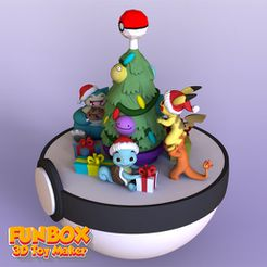 1.jpg Download file Pokemon pikachu charmander and Squirtle Christmas • Design to 3D print, FunBox3dtoy