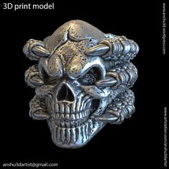 Skull_with_claws_vol1_ring_K1.jpg Download STL file cráneo con garras vol1 Anillo • Object to 3D print, AS_3d_art