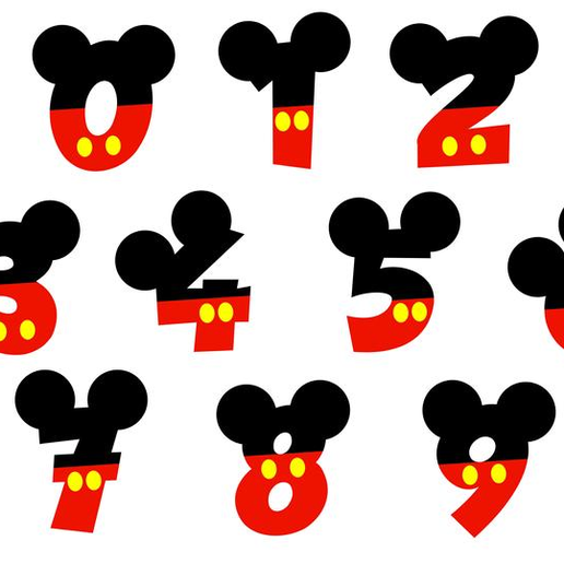Untitled.png Download file Mickey Numbers Cookie / Fondant Cutters • 3D printer model, tamtrieu20