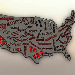 Captura.jpg Download STL file Map of USA with names of each state • 3D printer template, LuisCrown