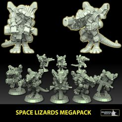 space-lizards-insta.jpg Download STL file Space Lizards Megapack • 3D printable object, SharedogMiniatures