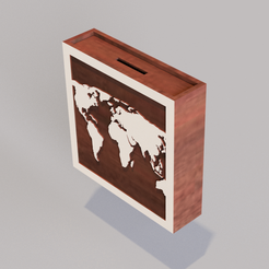 Hucha-mapa-mundo.png Download STL file Piggy bank map of the world / save, travel and repeat • Object to 3D print, jota_3dprinting