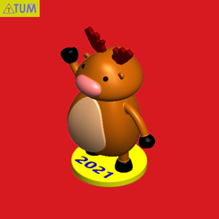 2020-11-29_153759a.png Download STL file Reindeer • Template to 3D print, Tum