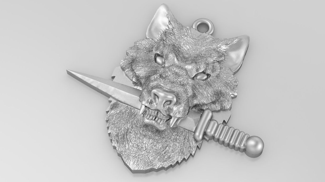 2.jpg Download free STL file Wolf knife sword pendant medallion jewelry 3D print model • 3D printable object, Cadagency