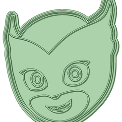 Owlette_e.png Download STL file Owlette face cookie cutter • Object to 3D print, osval74