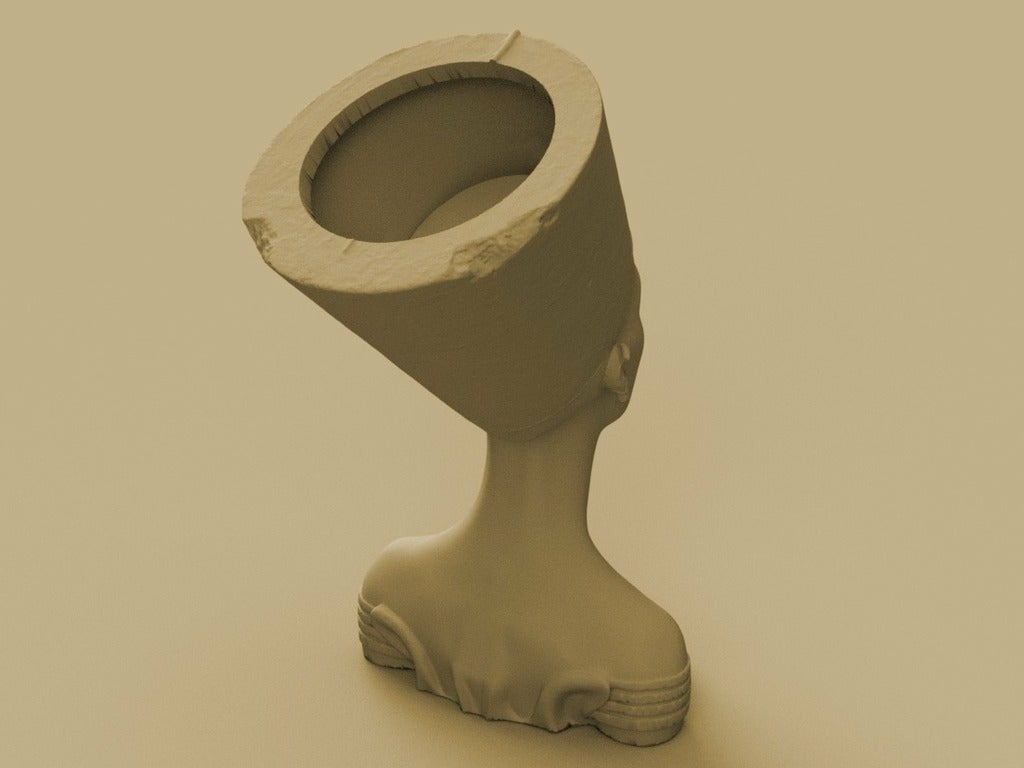 Queen_2.png Download free STL file Queen of Egypt Bust Flower Pot • 3D printer object, SylvanKnight